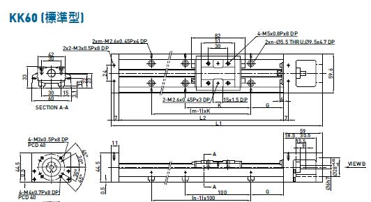 上银KK60线性模组图