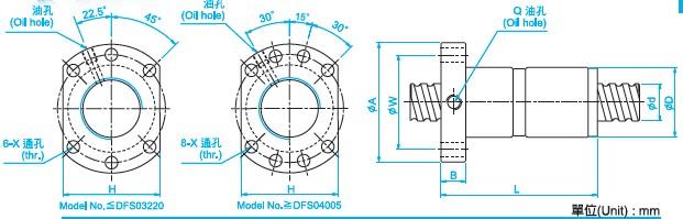 DFS2505滚珠丝杠尺寸图