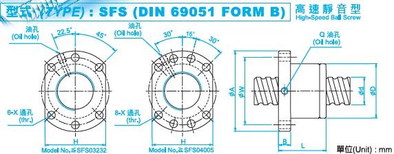 SFS10020滚珠丝杠螺母尺寸图