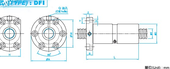 DFI1605滚珠丝杠螺母尺寸图