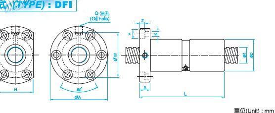 DFI3205滚珠丝杠尺寸图