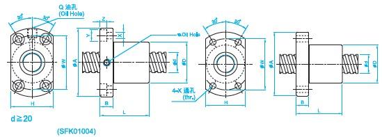 SFK1004滚珠丝杆螺母图
